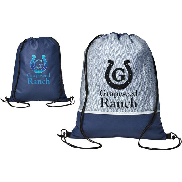 Navy Blue Delphine Non-Woven Drawstring Backpack