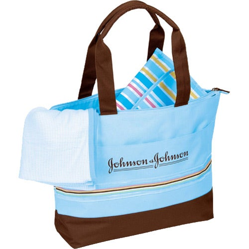 Light Blue / Brown Diaper Bag with Changing Pad