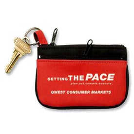Promotional Double Pocket Coin and Key Zippered Pouch