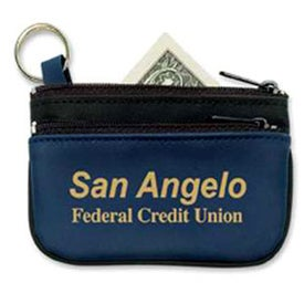 Double Pocket Zippered Coin and Key Pouch