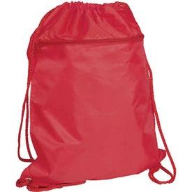 Monogrammed Drawstring Backpack with Zipper Pocket