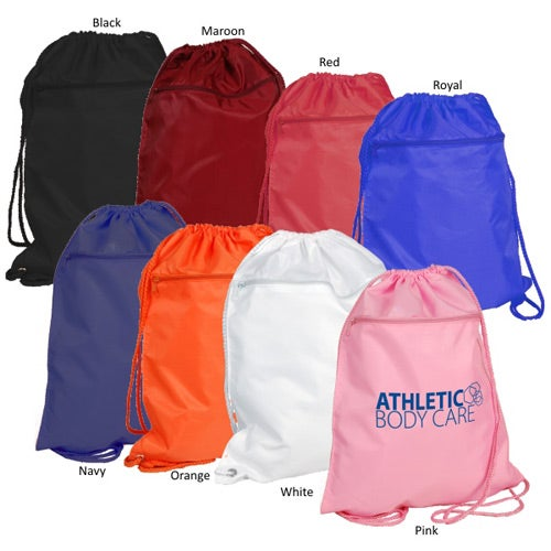 Promotional Drawstring Backpack with Zipper Pocket with Custom ...