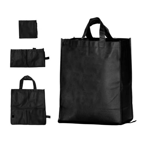 Black Folding Grocery Tote Bag