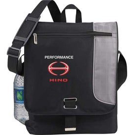 Imprinted Gridlock Vertical Compu-Messenger Bag