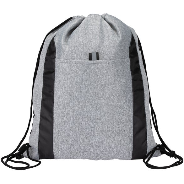 Gray / Black Joann Drawstring Bag with Knitted Fabric