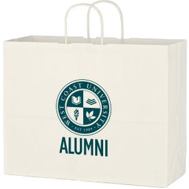 "Kraft Paper White Shopping Bags (16"" x 12.5"" x 6"")"