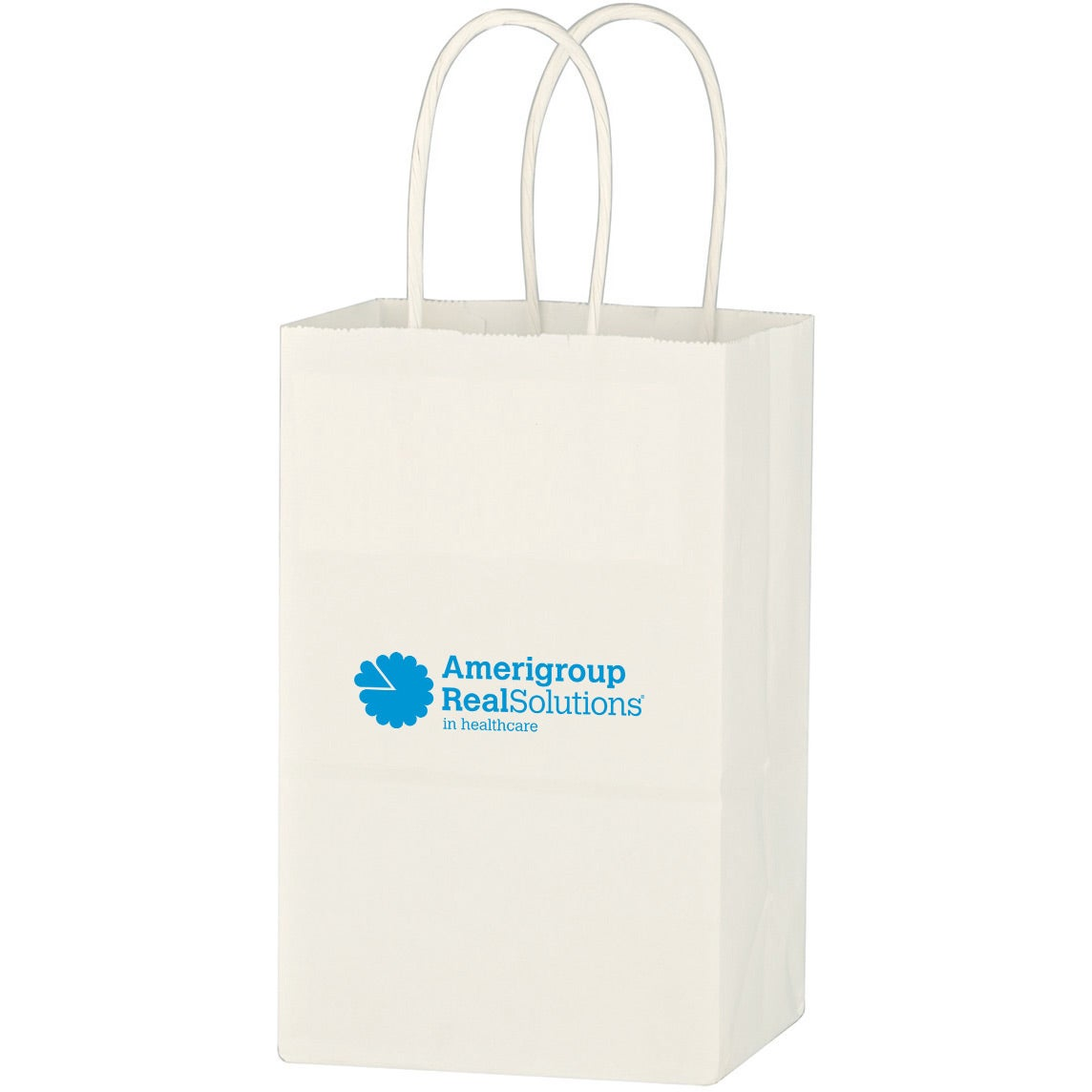 "Kraft Paper White Shopping Bag (5-1/4"" x 8-1/4"")"