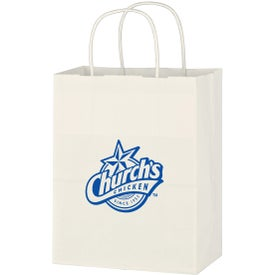 "Kraft Paper White Shopping Bag (8"" x 10-1/4"")"
