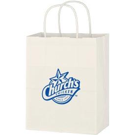 "Kraft Paper White Shopping Bag (8"" x 10-1/4"")"