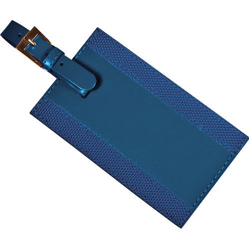 Blue Majestic Leather Luggage Tag