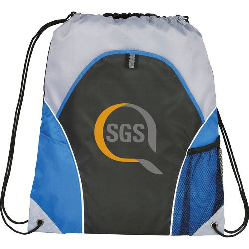 Royal Blue / Black / Gray Marathon Drawstring Cinch Backpack
