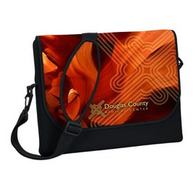 "Messenger Bag Style Laptop Sleeve (17.25"" x 14.25"" x 1"", Full Color Logo)"