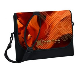 "Messenger Bag Style Laptop Sleeve (15.25"" x 13.25"" x 1"", Full Color Logo)"