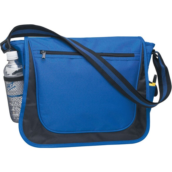Royal Blue Messenger Bag with Matching Striped Handle