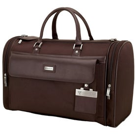 Messina Dark Brown Leather Twill Nylon Travel Bag