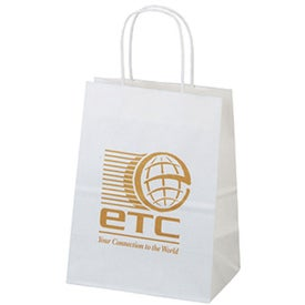 Mini White Paper Shopper Bag Branded with Your Logo
