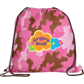 Logo Non Woven Camo Drawstring Backpack