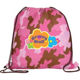 Logo Non Woven Camo Drawstring Backpack