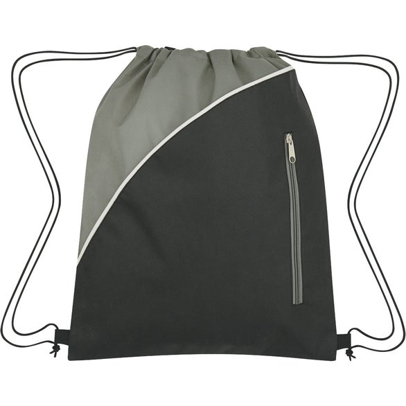 Black / Gray Non-Woven Drawstring Pack with Front Zipper
