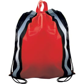 Non-Woven Reflective Drawstring Backpack Imprinted with Your Logo