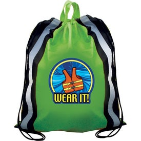 Printed Reflective Drawstring Backpack
