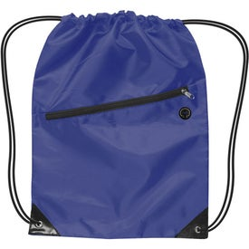 Branded Nylon Drawstring Backpack with Zipper