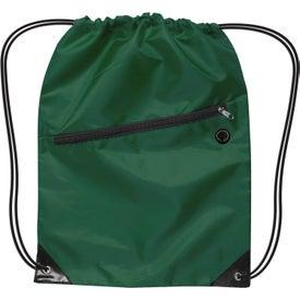 Monogrammed Nylon Drawstring Backpack with Zipper