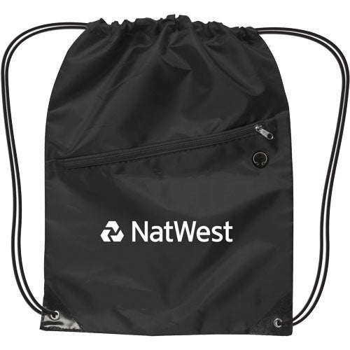 Black Drawstring Backpack with Zipper