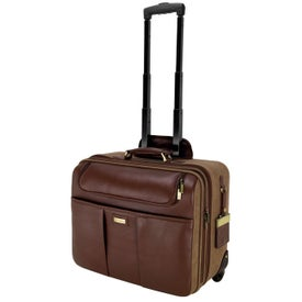 Palermo Napa Leather Canvas Trolley Case (Brown)