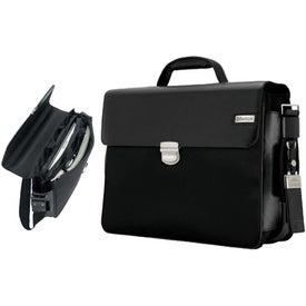 Branded Parma Dark Brown Leather Twill Nylon Briefcase