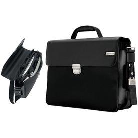 Branded Parma Dark Brown Leather Twill Nylon Briefcase