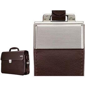 Parma Dark Brown Leather Twill Nylon Briefcase for Your Organization