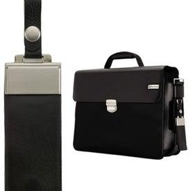 Parma Dark Brown Leather Twill Nylon Briefcase for Customization