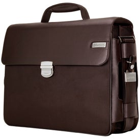 Parma Dark Brown Leather Twill Nylon Briefcase