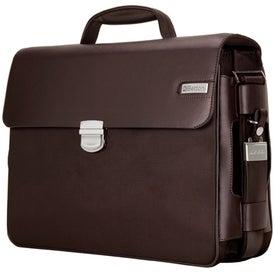 Parma Dark Brown Leather Twill Nylon Briefcase