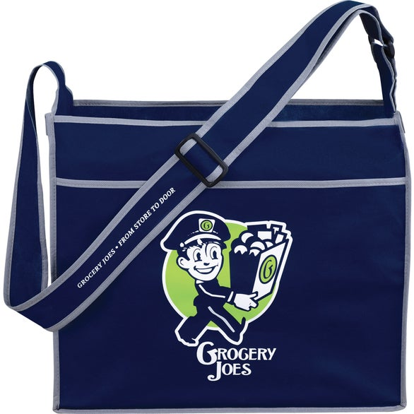 Navy Deluxe Box Non-Woven Convention Shoulder Tote Bag