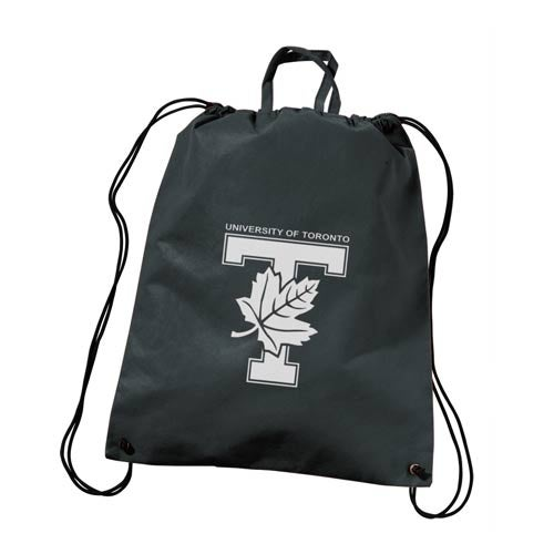 Black Polytex Drawstring Backpack With Handle