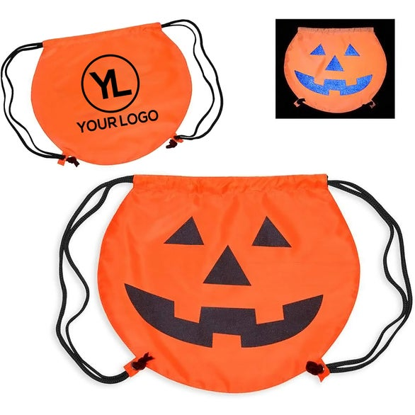 Orange PartyTime Pumpkin Drawstring Bag