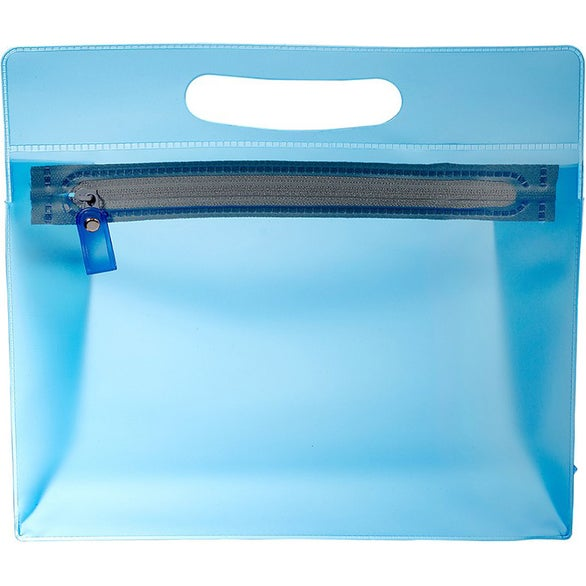 Translucent Blue PVC Pouch with Handle
