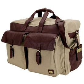 Ravenna Palm Embossed Leather Canvas Weekend Travel Bag