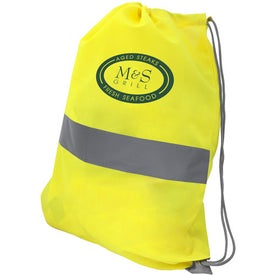 Logo Neon Yellow Reflective Drawstring Backpack