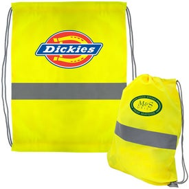 Personalized Neon Yellow Reflective Drawstring Backpack