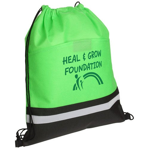 Promotional Safety Drawstring Bags with Custom Logo for $1.54 Ea.