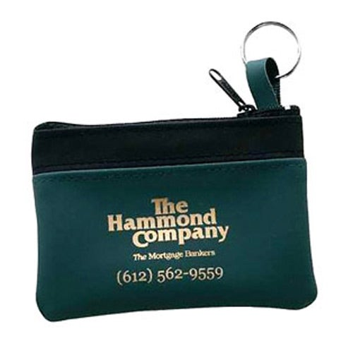 Green Single Pocket Coin and Key Zippered Pouch