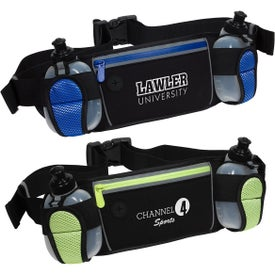 Sleek Water Resistant Sports Waist Pack with Dual Bottle Holders