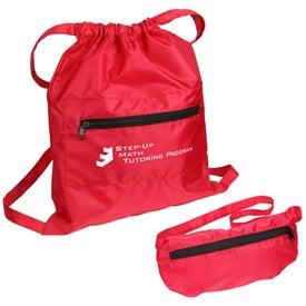 Branded Solstice Foldable Drawstring Backpack