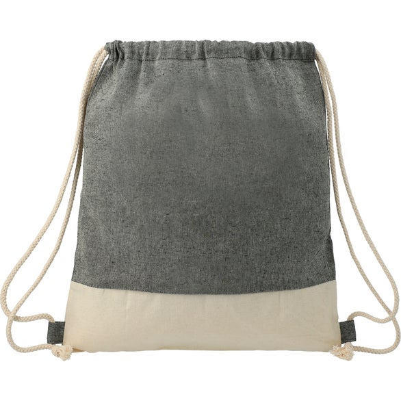 Black / Natural Split Recycled Cotton Drawstring Bag