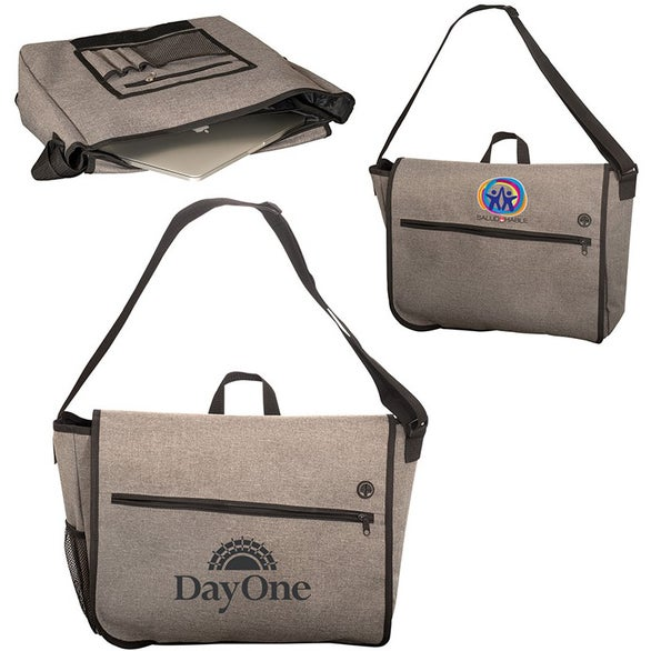 Gray Strand Messenger Bag with Laptop Sleeve