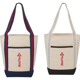 Stripe Handle Cotton Canvas Topsail Boat Tote Bag