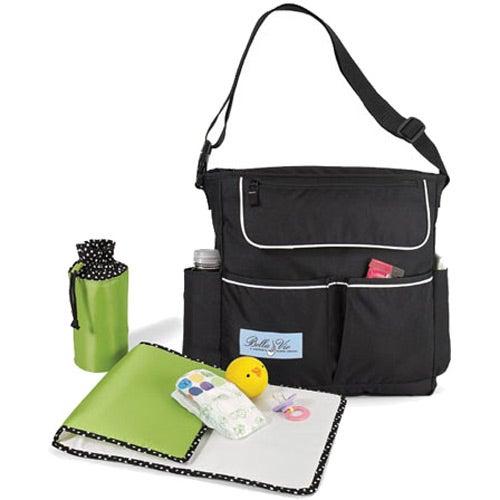 Black Le Green Sweet Pea Diaper Bag Kit Imprinted